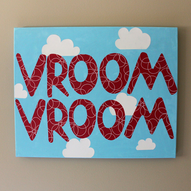 DIY VROOM VROOM canvas wall art (via mandyford)