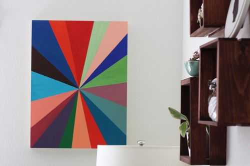 DIY canvas pinwheel wall art (via shelterness)