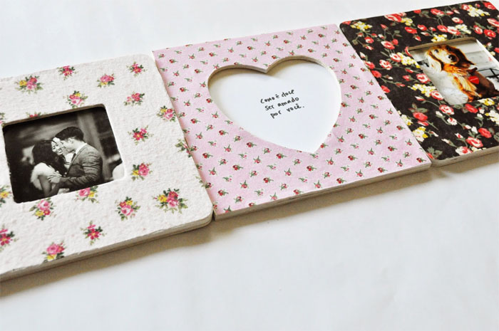 DIY heart-shaped wooden frame covered with fabric (via thewonderforest)
