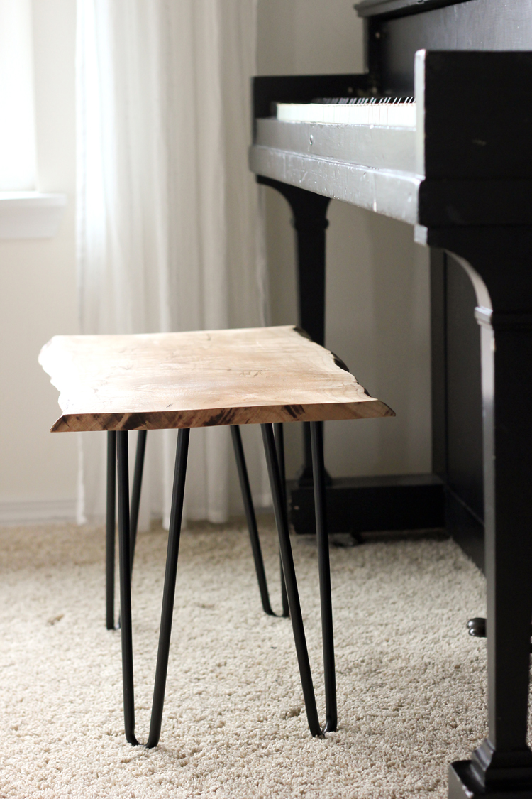 DIY live edge and hairpin legs bench