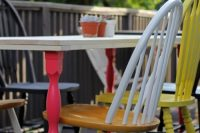 DIY dining table with colorful legs