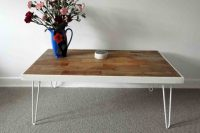 DIY coffee table with whitewashed hairpin legs