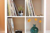 DIY vinyl record shelf with bold legs