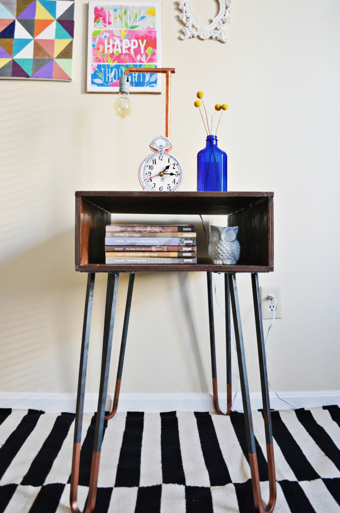 DIY side table with copper dipped hairpin legs