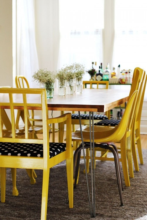 DIY dining table with hairpin legs