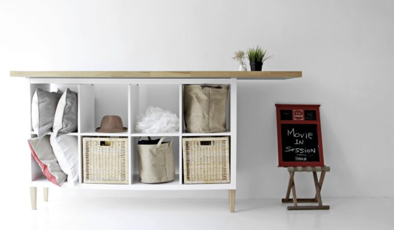 Kallax sideboard hack with IKEA sofa legs and wooden tabletop (via www.comfort-works.com)