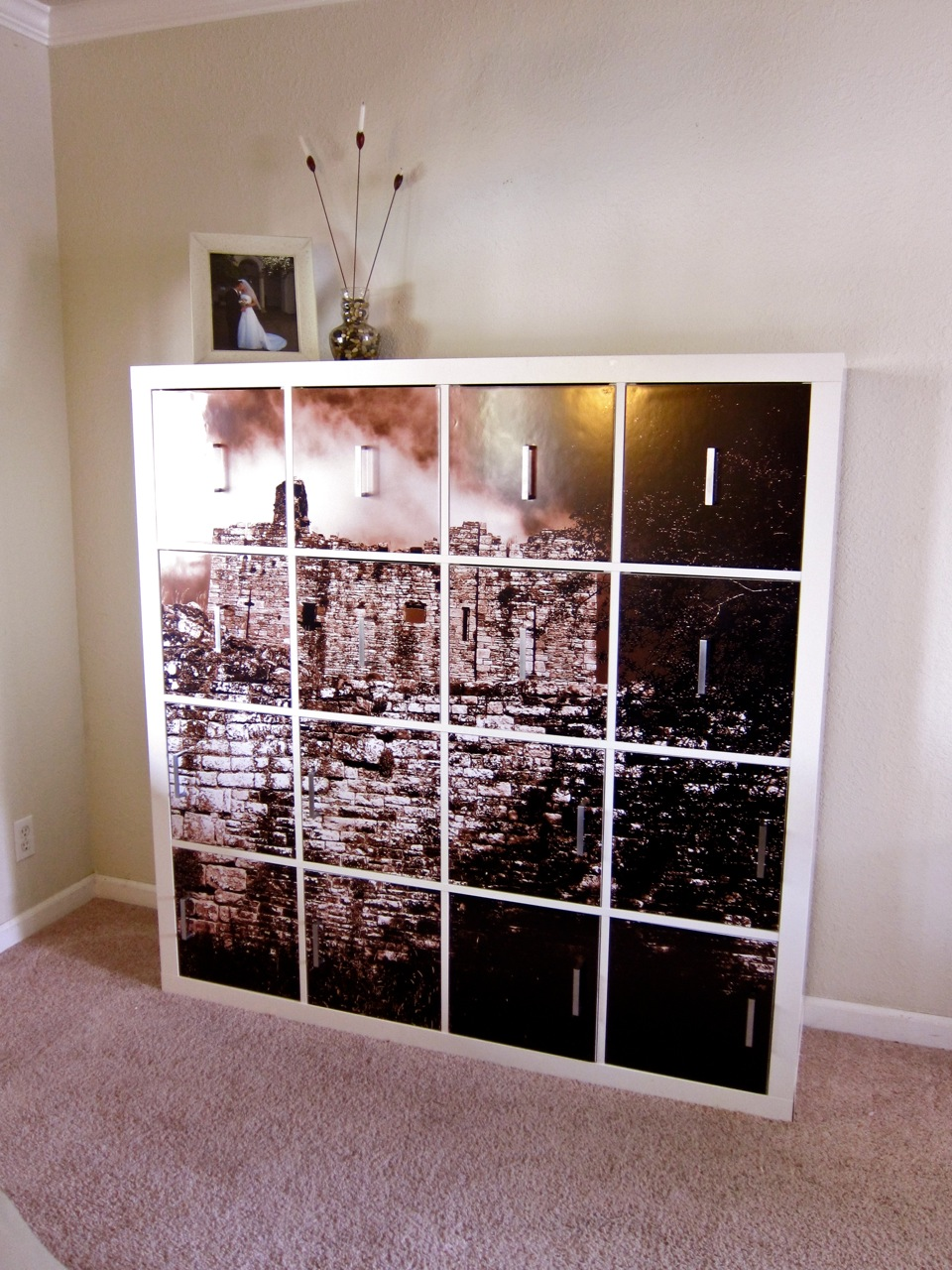 You can make door panels that will turn your Expedit unit into a canvas photo art piece