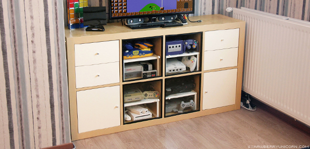 A Hack to turn IKEA Kallax unit into a retro gaming cabinet (via www.strawberryunicorn.com)
