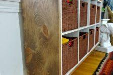 Wood wrapped Ikea cube shelf
