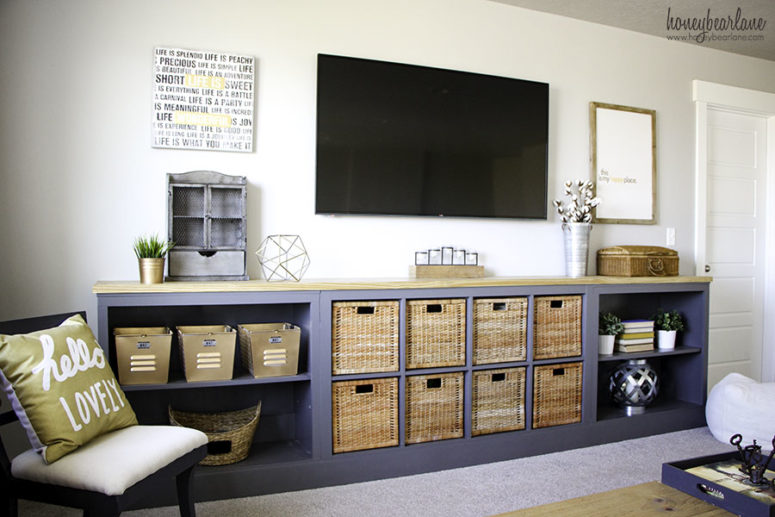 Turn Expedit into a long storage unit (via www.honeybearlane.com)
