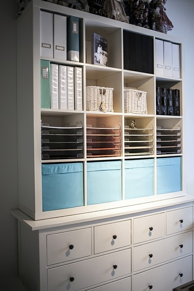 Craft storage unit could be made by combining IKEA's Kallax and Hemnes units (via craftystorage.blogspot.ru)