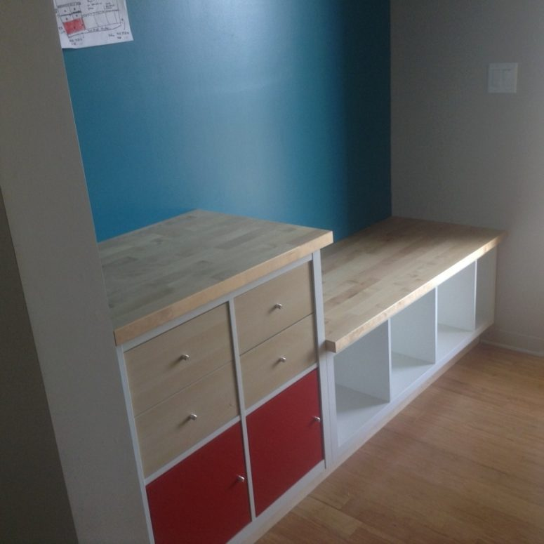 Built-in bench with storage and wooden top (perfect solution for a mudroom) (via www.ikeahackers.net)