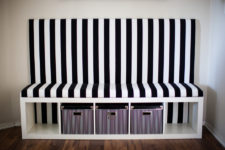 DIY timeless black and white banquette seat (versatile and easy to change fabric design)