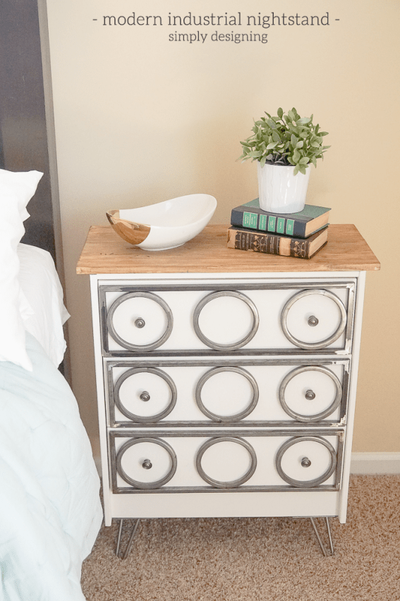 DIY industrial nightstand of IKEA Rast