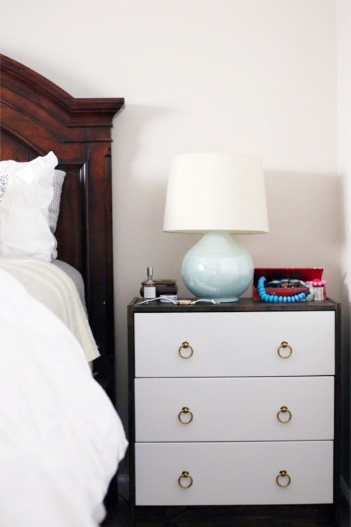 Nightstand hack with stain and white paint