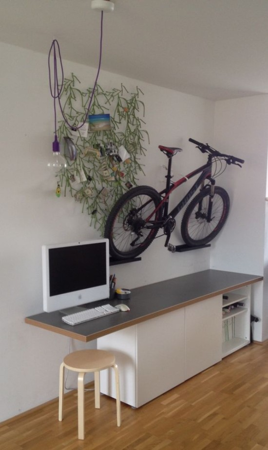 DIY bike mounts from Ribba ledges (via ikeahackers)