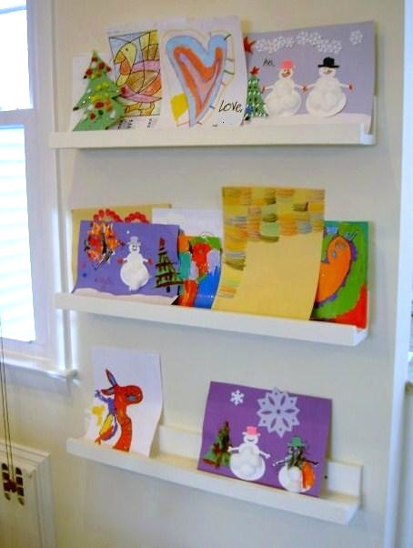 DIY children artwork ledges (via ana-white)