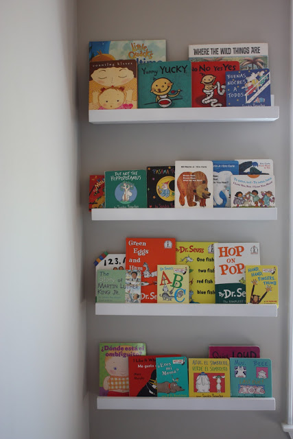 DIY kids bookshelves from Ribba ledges (via cindyjespinoza)