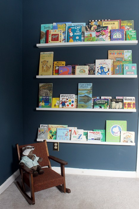 DIY IKEA Ribba book storage (via boxycolonial)
