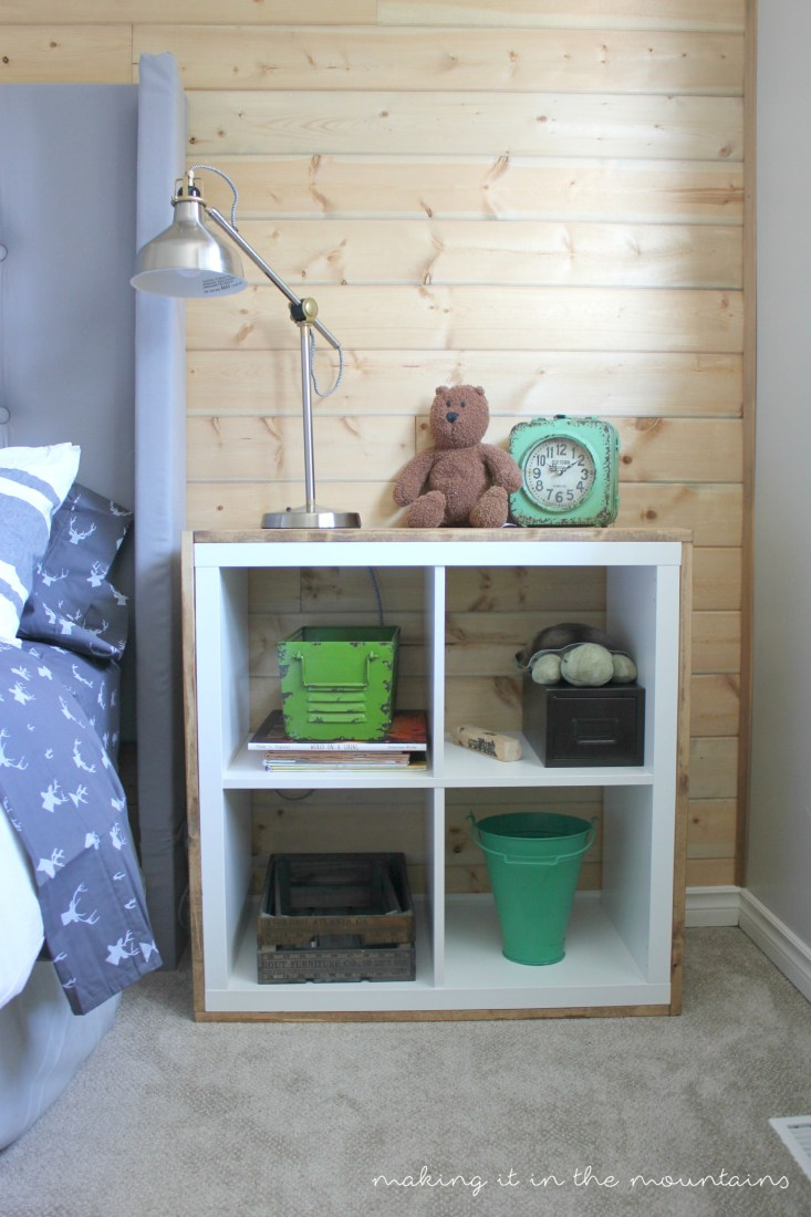 DIY Kallax bedside table covered with plywood (via makingitinthemountains)