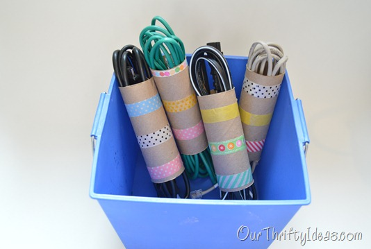 DIY washi tape and toilet paper rolls organizers (via ourthriftyideas)