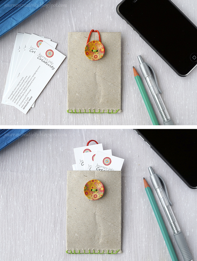DIY business card holder of a toilet paper roll (via journeycreativity)