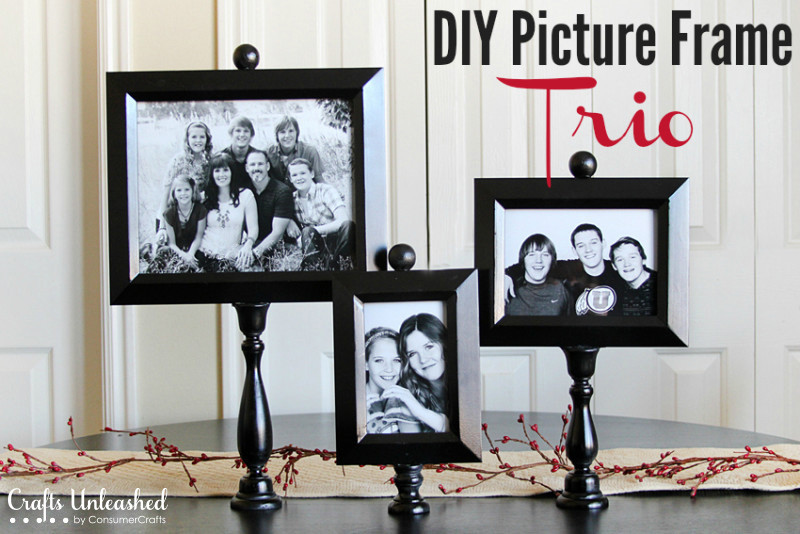 DIY wooden picture frames on stands