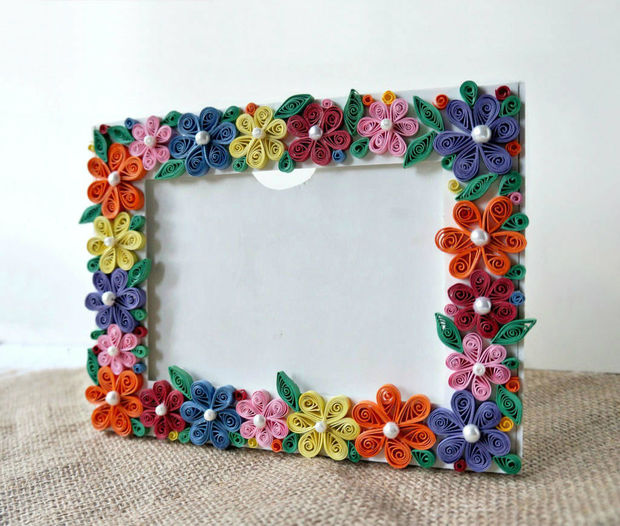 diy paper quilled photo frame via instructables - Diy Cardboard Picture Frame
