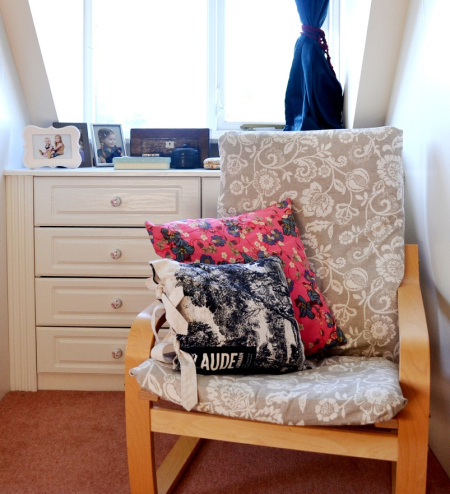 DIY printed grey cover for IKEA Poang chair