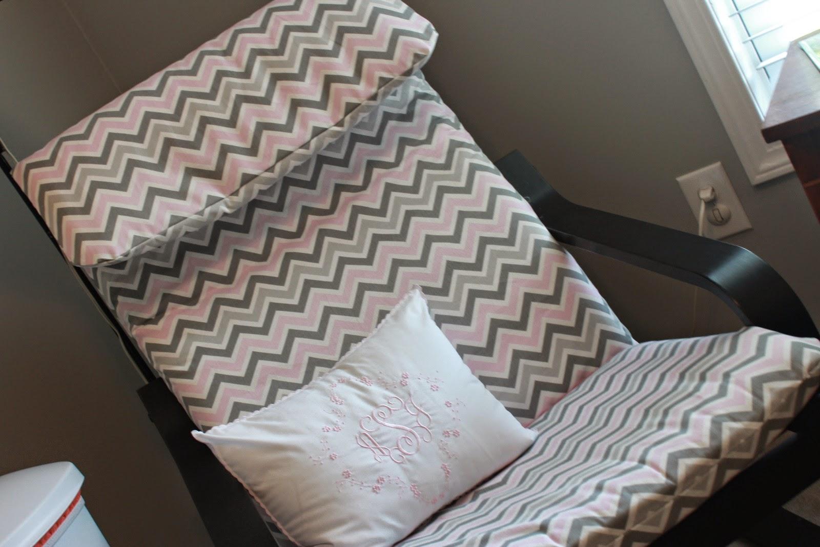 DIY chevron Poang chair cover