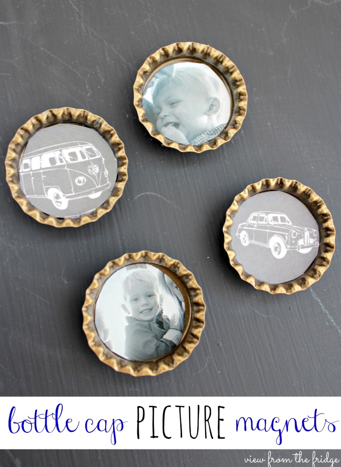 DIY chalkboard bottle cap magnets (via viewfromthefridge)