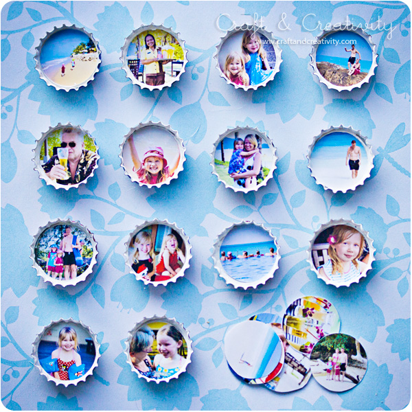 DIY photo bottle cap magnets (via craftandcreativity)