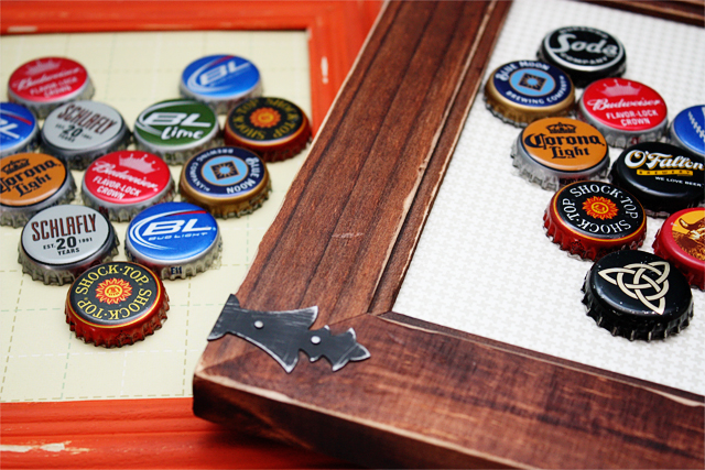 DIY bottle cap framed art (via livelaughrowe)