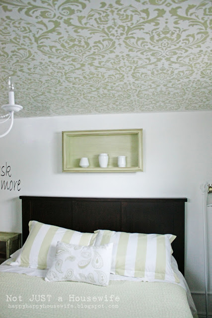 DIY damask stencil ceiling