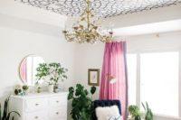 DIY geometric ceiling stenciling