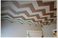 How to stencil your ceiling with chevron pattern