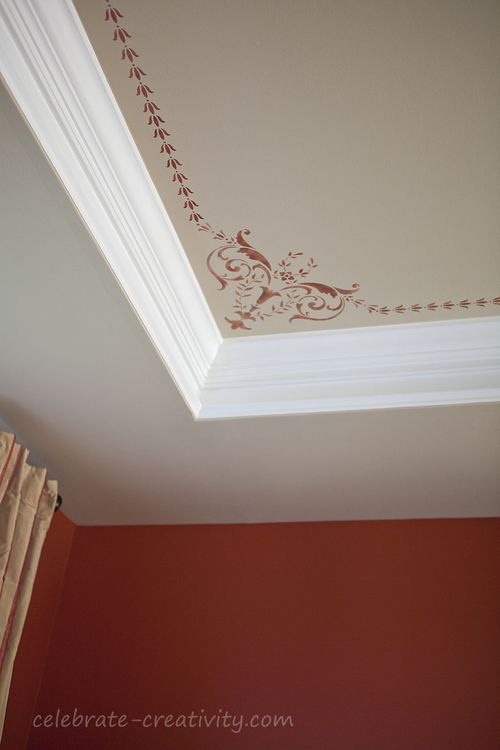 DIY ceiling corner stencil (via celebrate-creativity)