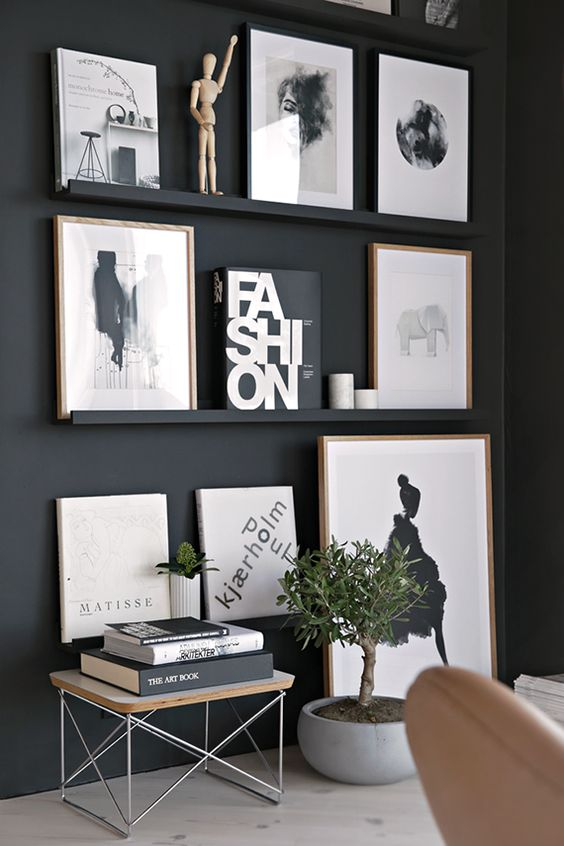 short black ledges with black and white art