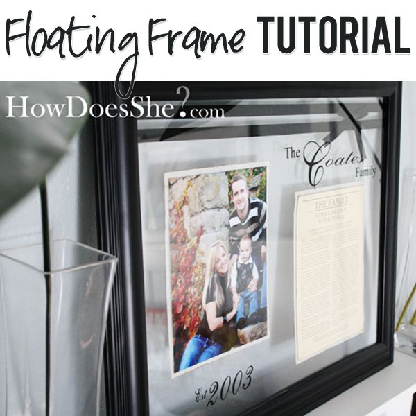 diy modern black floating frame via howdoesshe