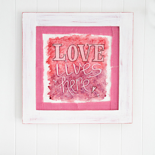 DIY LOVE themed watercolor art (via shelterness)