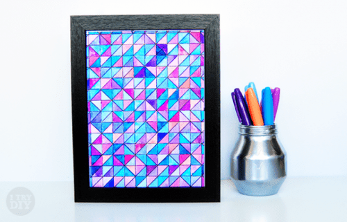 DIY geometric watercolor wall art (via shelterness)