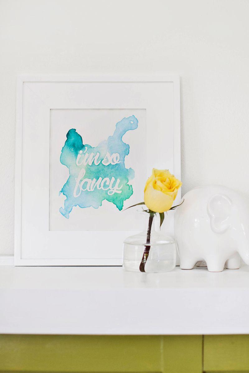 DIY watercolor phrase art