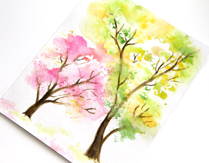 DIY Spring Trees Watercolor Art Via Apieceofrainbow