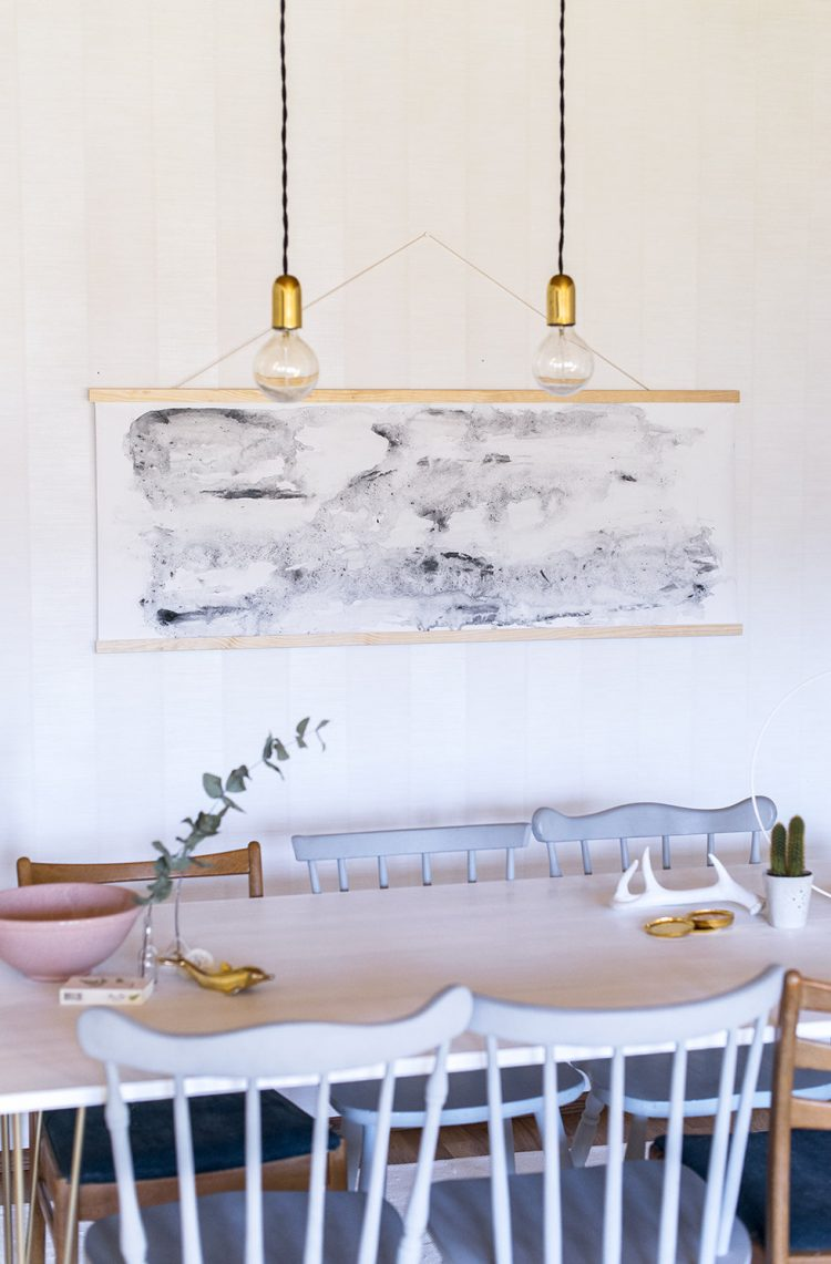 DIY oversized watercolor wall hanging (via atilio)