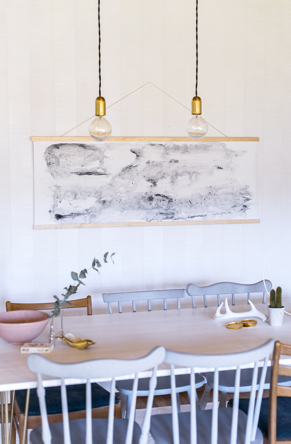DIY oversized watercolor wall hanging