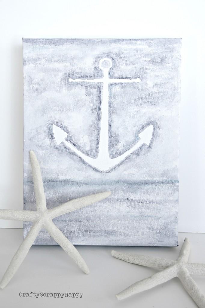 DIY watercolor anchor canvas (via craftyscrappyhappy)