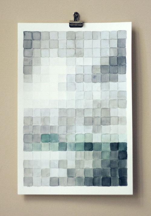 DIY watercolor pixel painting
