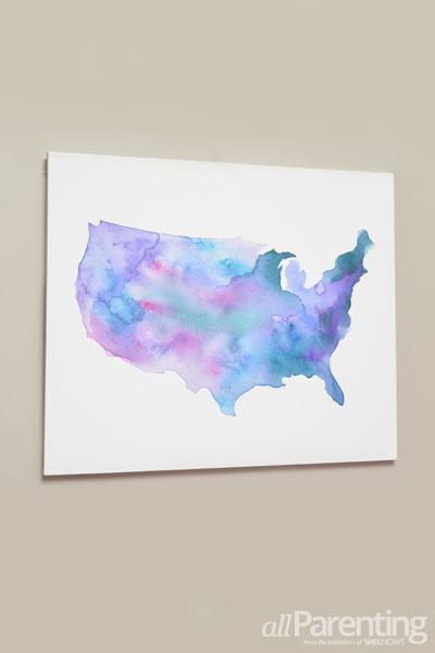 DIY watercolor state map art