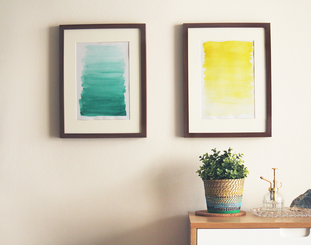 DIY mini watercolor ombre artworks