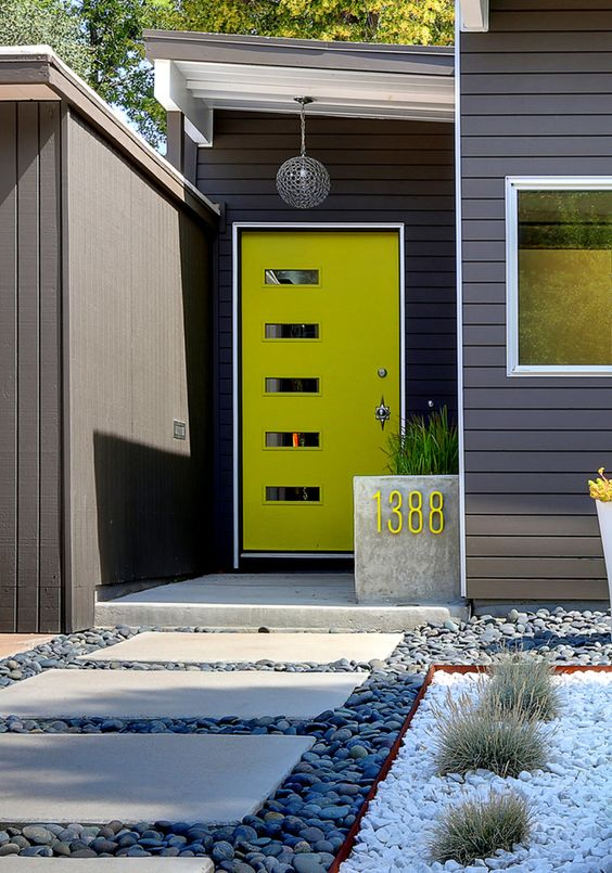 bold neon yellow dront door with glass panes